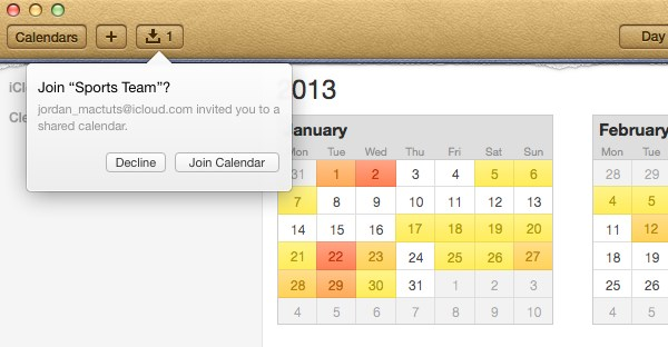 Calendar users can also accept shared calendar invitations right within the app.