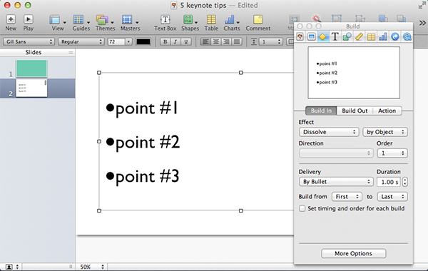 Bullet point transitions are very easy to add to your presentation.