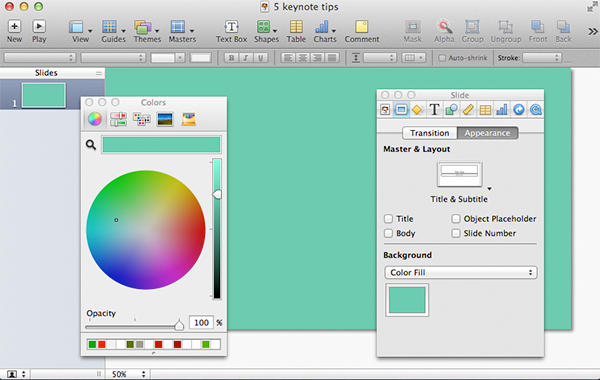 A solid custom-color background will serve as a great Theme for your Keynote.
