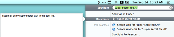 If the file is still visible, it will show up here in Spotlight's results.