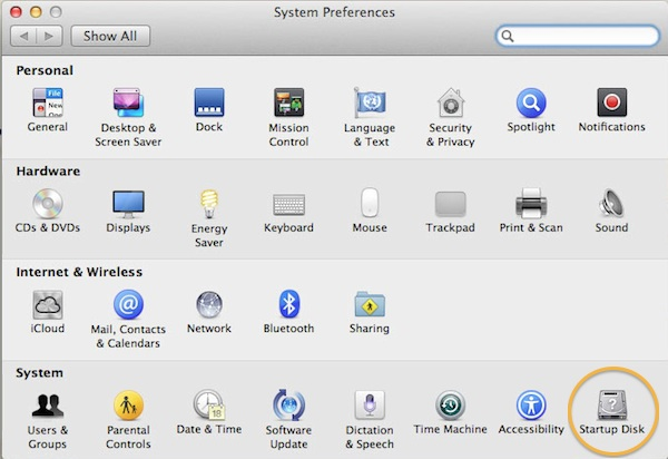 Selecting the start-up disc from System Preferences