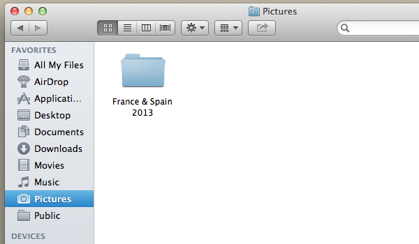 Navigate to the folder in which you would like to store your photographs.