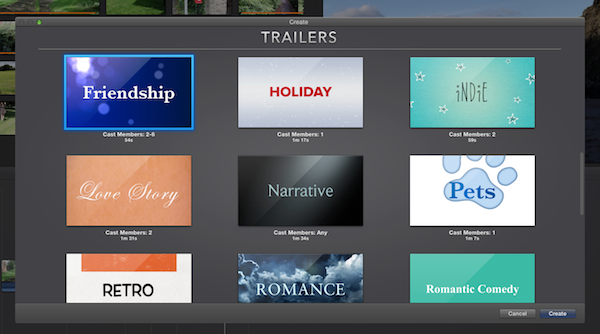 The trailer themes are all specific to a genre of movie.