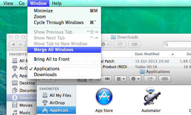 Merging and de-merging windows in Finder is super simple.