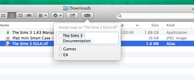 Adding tags to files in Finder is as easy as hitting the new Edit Tags button.