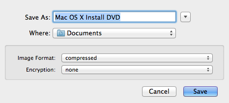 """Choose where you want to save the disk image and what you want to name it. I name mine """"Snow Leopard Install"""" since the default """"Mac OS X Install DVD"""" could apply to any OS X version."""