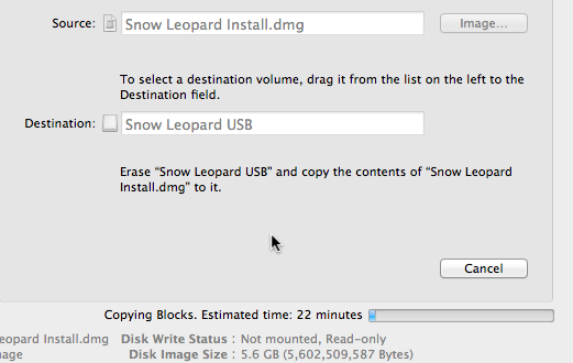 This process--versus simply dragging-and-dropping the disk image to the USB drive--will make the OS X backup bootable when powering on the computer.