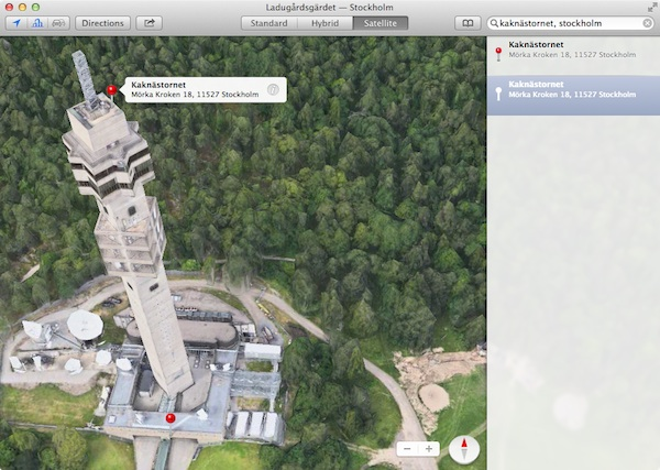 Apple Flyover view of Kaknästornet ( Kaknäs Tower) in Stockholm