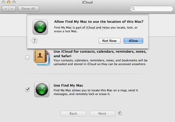As Find My Mac requires constantly monitoring your Mac's location, you will need to confirm you wish to do so.