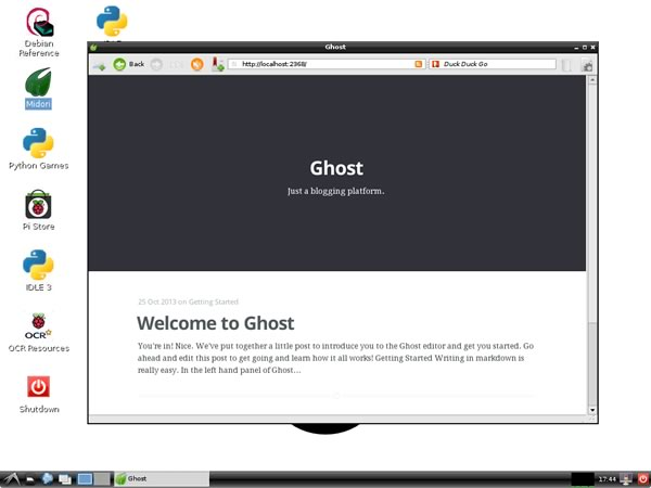 The default Ghost blog screen