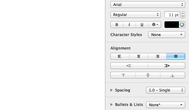 Introducing the formatting sidebar.