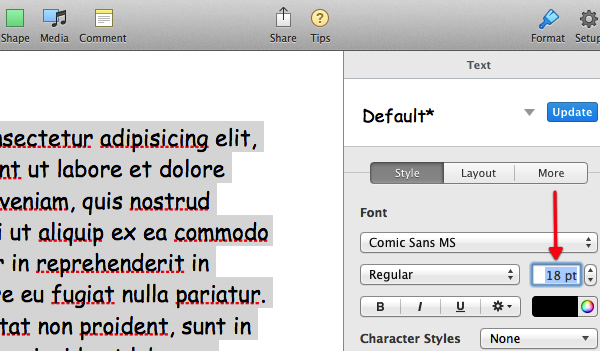 Enter your desired font size.