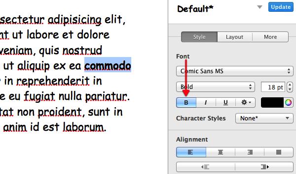 Click Bold, Italics or Underline.