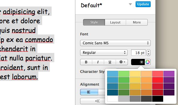 Change the colour of the font by selecting a colour from the palette.