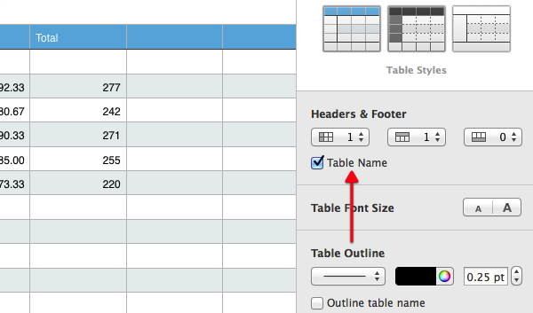 Click the Table Name checkbox.