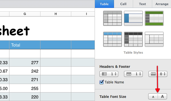 How to create a basic spreadsheet using numbers for Table th font size