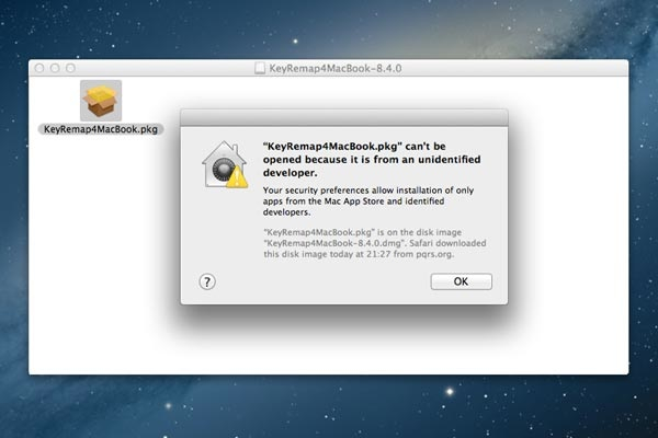 If you get this error, ctrl-click on KeyRemap4MacBook.pkg and select Open