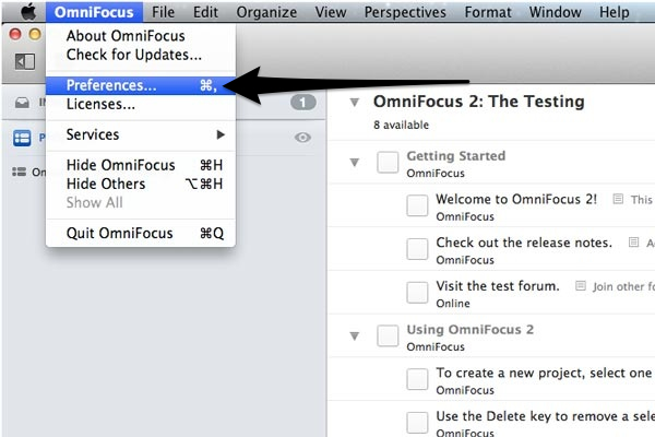 Select Preferences from the OmniFocus menu