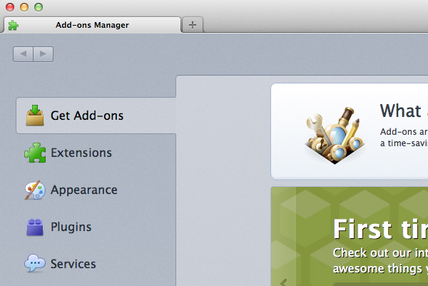 Click Get Add-Ons via the Add-Ons Manager.