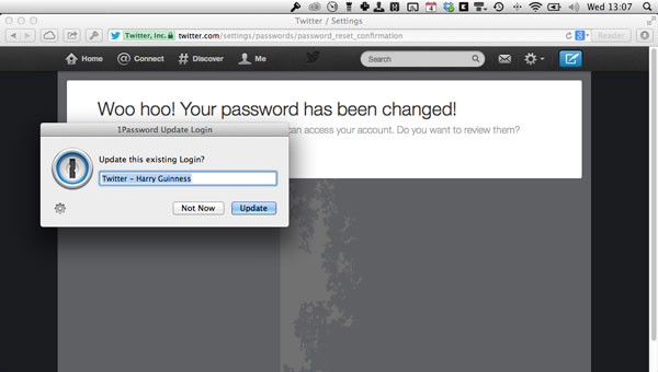 Updating Twitter's current 1Password entry