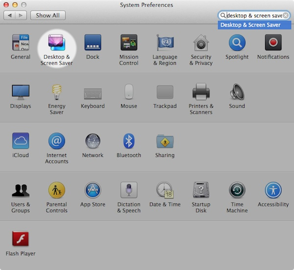 Desktop preferences in the System Preferences pane