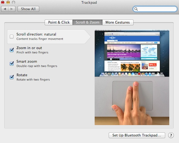 Uncheck natural scroll on the trackpad