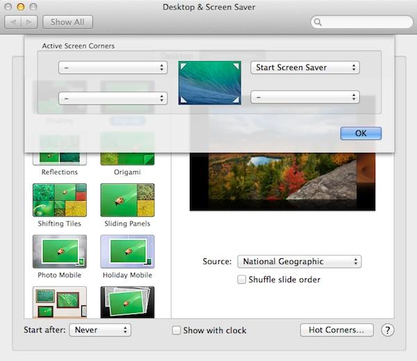 Start the screensaver using hot corners