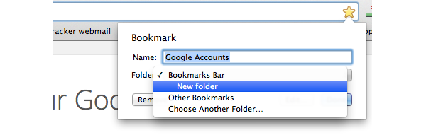 Dropdown list of Bookmark folders