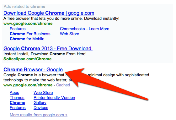 Chrome appears in the search results