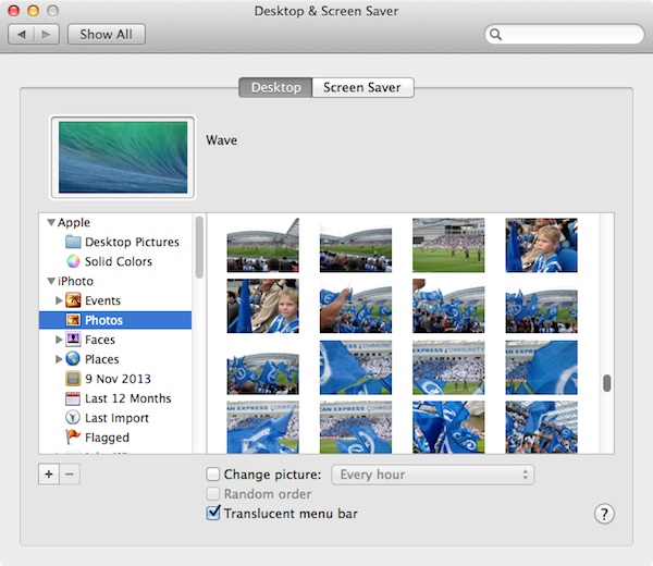Choosing a Desktop image from iPhoto