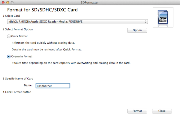 Formatting the SD Card