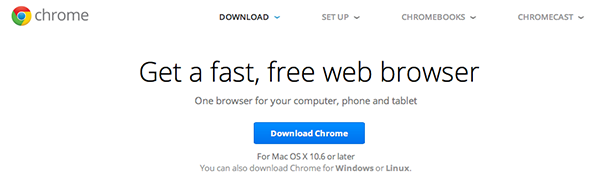 Click the blue button to download Chrome
