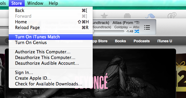 iTunes Match is toggled on through the Store menu.