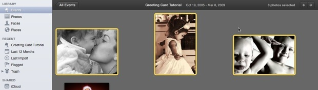 To select photos for your card, you can click the first and then hold Command while clicking to make the other selections.