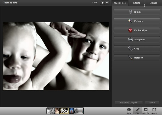 Even in the card view, you can still access the iPhoto editing options by clicking the Edit Photo button with the photo selected.