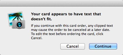 If you accidentally leave something out, iPhoto will try to notify you before you order your cards.