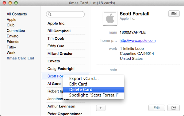 Removing a contact card