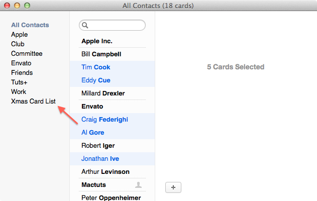 Selecting contacts to add to your Christmas card list