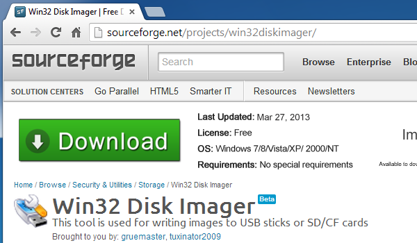 Win32DiskImager at Sourceforge