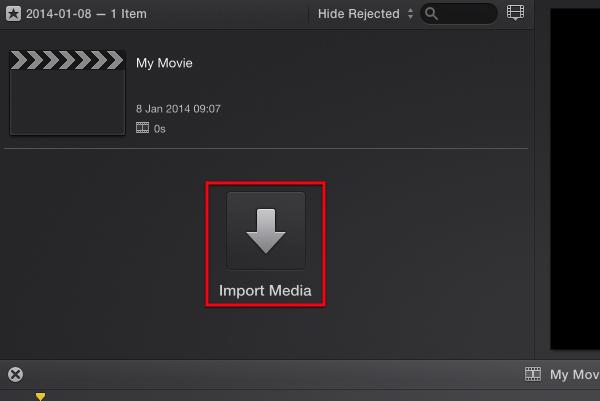 Click Import Media