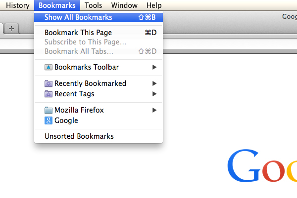 Click Bookmarks and then Show All Bookmarks.
