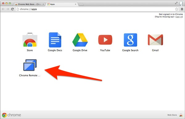 Start the Chrome Remote Desktop app