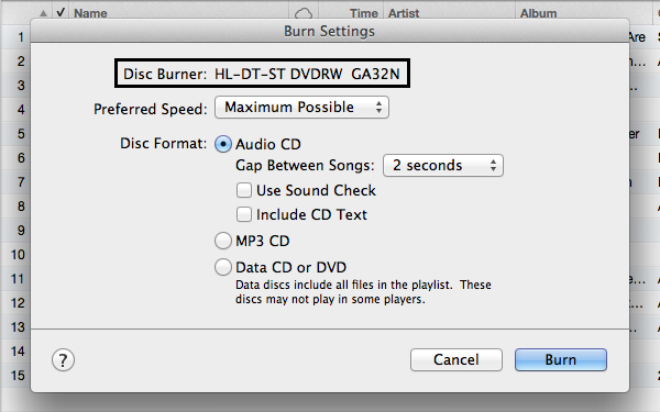 how to burn a dvd from itunes on a mac