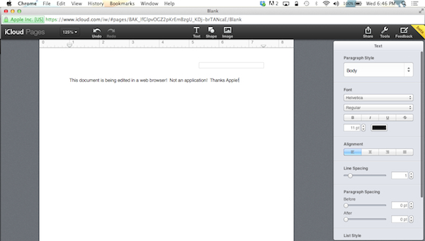 Demo Page document on iCloud