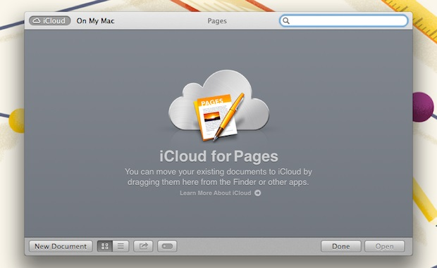 The iCloud browser is likely the first thing you'll encounter when you open Pages.