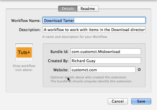 Creating Workflow: Downloads Tamer