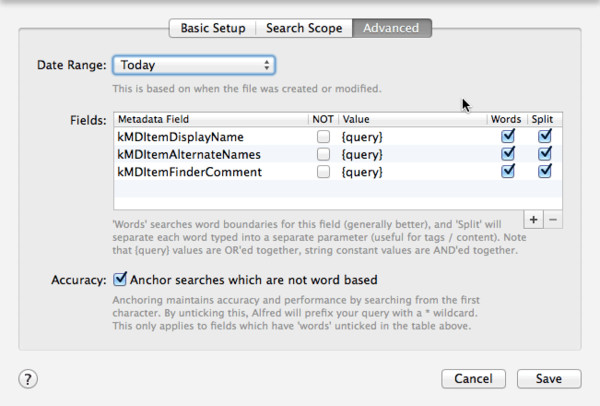 File Filter: Advanced Options