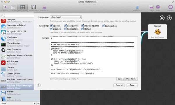 Downloads Tamer: Setting the Project Directory: Run Script block