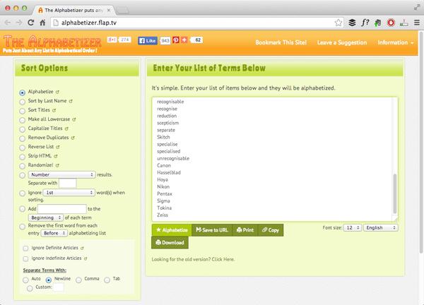 Alphabetising the list using The Alphebatizer