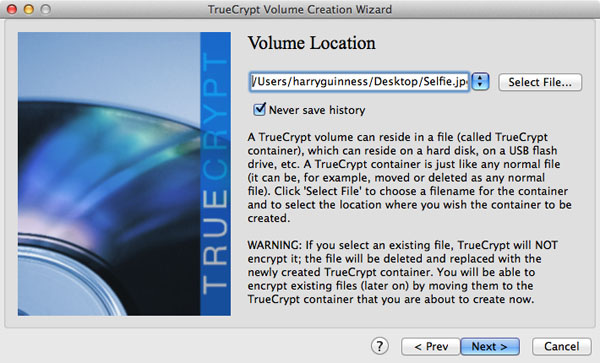Setting the TrueCrypt volume's location
